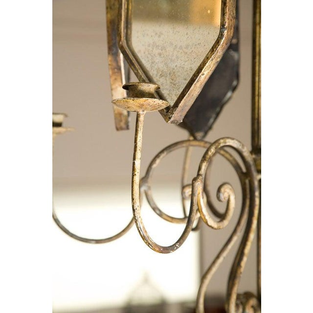 Brass Italian Etched Mirror Panel Hanging Candlestick Chandeliers For Sale - Image 8 of 11