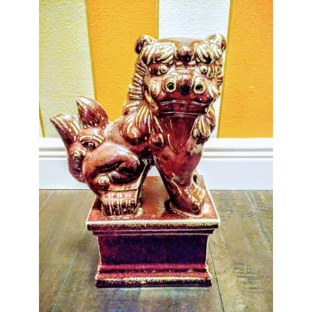 2000 - 2009 Burgundy Ceramic Foo Dog Statue For Sale - Image 5 of 5