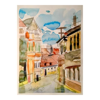 Golden Walkway Watercolor For Sale
