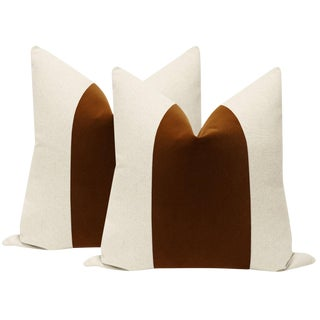 "22"" Cognac Velvet Panel & Linen Pillows - a Pair For Sale"
