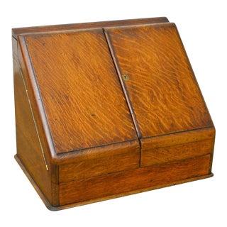 Antique 19th Century English Oak Desk Top File Calendar Organizer For Sale