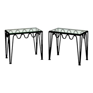 Pair of Blackened Steel and Glass Side Tables in the Style of Carl Hörvik For Sale