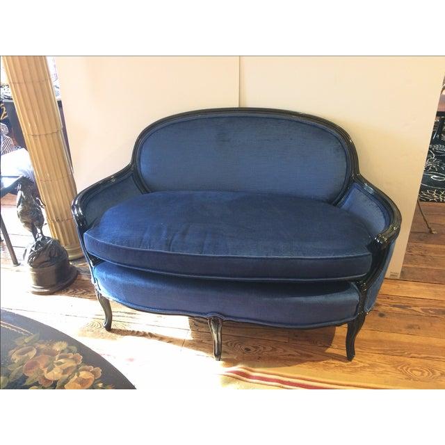 French Royal Blue Velvet & Black Laquer Loveseat - Image 2 of 7