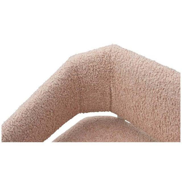 Pink Custom Postmodern Angular Pink Shearling Style White Oak Loveseat / Bench/ Sofa For Sale - Image 8 of 10