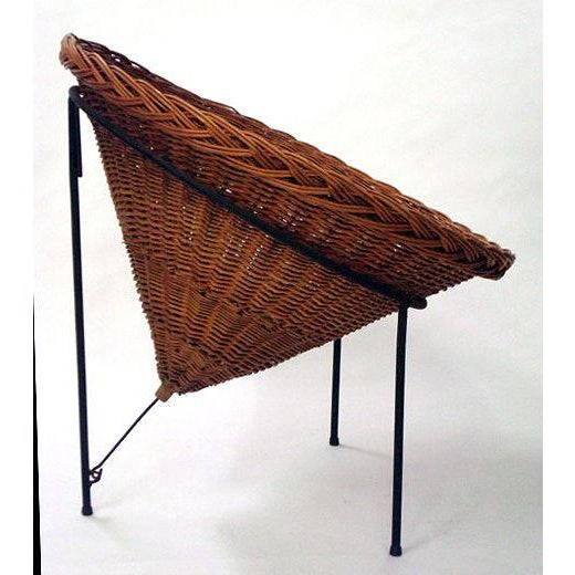Tecno Sunflower Woven Wicker Cone Basket Lounge Chair by Roberto Mango for Tecno For Sale - Image 4 of 6