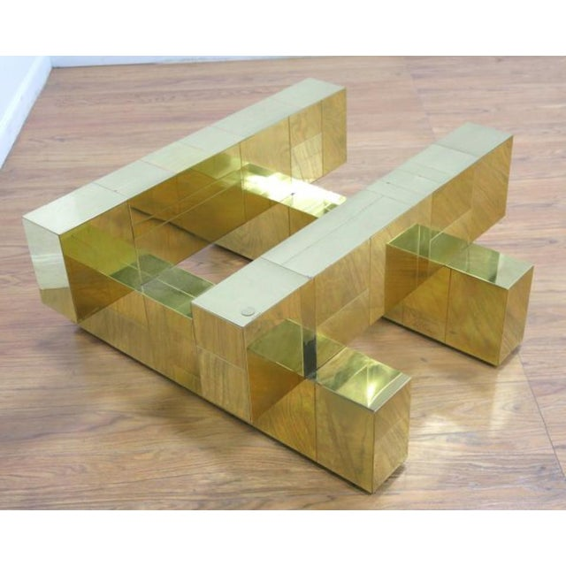 """Paul Evans Brass """"Cityscape"""" Coffee Table - Signed - Image 3 of 7"""