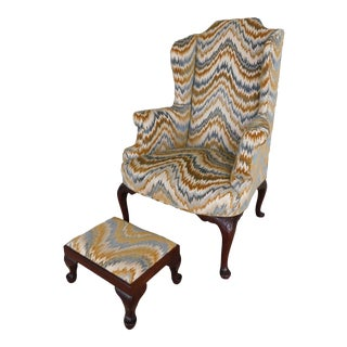 Vintage Chippendale Style Wing Back Chair & Foot Stool For Sale