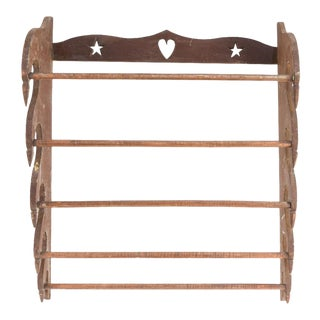19th-Century Folk Art Carved Wall Rack For Sale