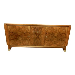 1940's Large French Walnut Enfilade by Maurice Rinck For Sale