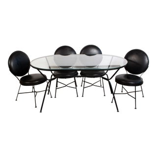 Mid Century Modern Wrought Iron Patio Table & 4 Chairs - a Set For Sale
