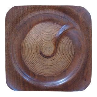 Vintage Hand-Carved Turned Walnut Wood Bowl For Sale