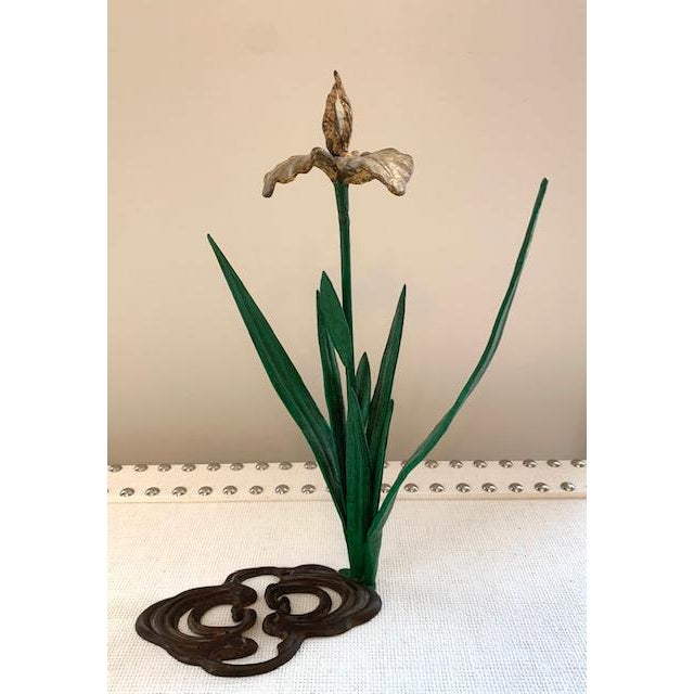 Brass Antique French Daffodil Iron Brass Flower For Sale - Image 8 of 8
