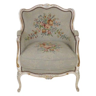 Louis XV Style Bergere Chair with Needlepoint Floral Design