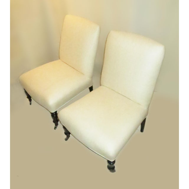 Napoleon III Pair of Napoleon III Slipper Chairs For Sale - Image 3 of 6