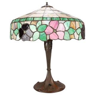 1910 Antique Arts & Crafts Floral Mosaic Slag Glass Three-Light Table Lamp
