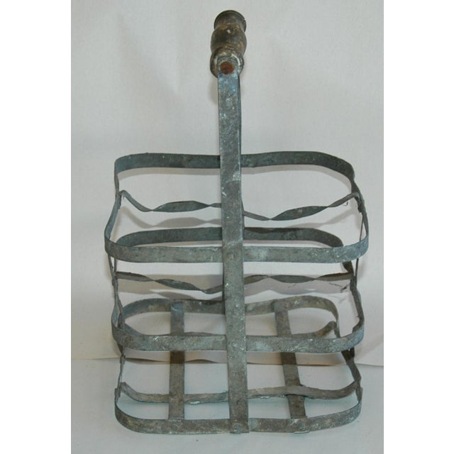 1930s French Gray Porte Bouteille Zinc 4-Bottle Wine Carrier For Sale - Image 4 of 8