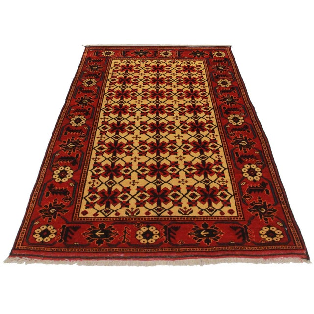 """Unique Gold/Yellow background Vintage Tribal Turk-men Afghan Hand Knotted Wool Area Rug Size: 4' x 5' 11"""""""