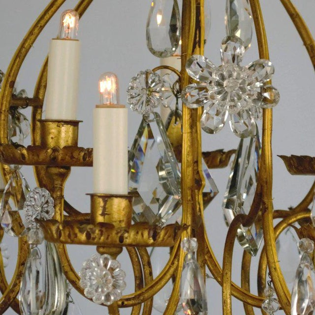 Late 19th Century Continental Iron & Crystal Chandelier For Sale - Image 5 of 11