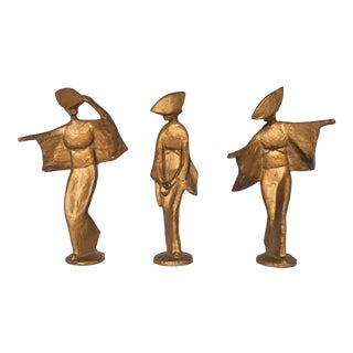 Vintage Cast Metal Large Gold Geisha Figurines - Set of 3 For Sale