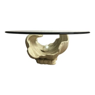 Clam Pearl Shell Wooden Coffee Table For Sale