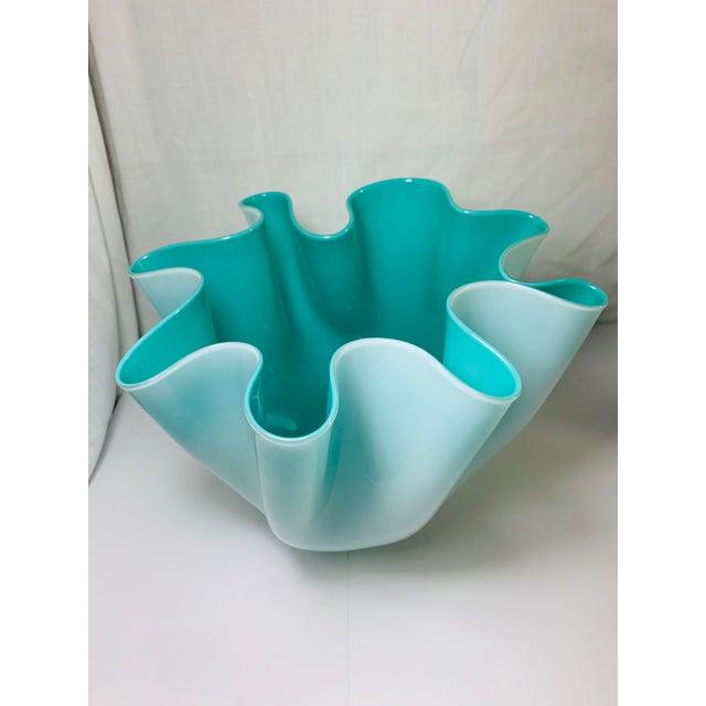 """Fulvio Bianconi Venini Cased Tiffany Blue Glass """"Fazzoletto"""" Handkerchief Vase For Sale - Image 11 of 11"""