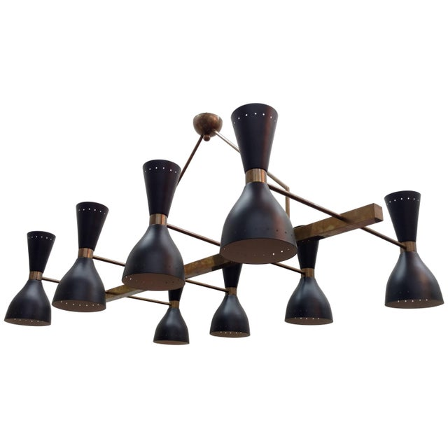 Black Large Architectural Brass Chandelier For Sale - Image 8 of 8