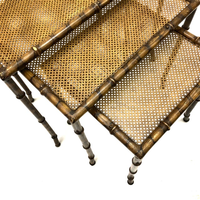 20th Century Chinoiserie Faux Painted Steel Bamboo Nesting Tables - Set of 3 For Sale - Image 9 of 12