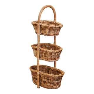 19th Century French Handwoven Tree-Tier Wicker Basket From Normandy For Sale