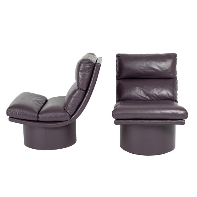 Eggplant Leather Scoop Chairs on Swivel Bases, Circa 1980s For Sale