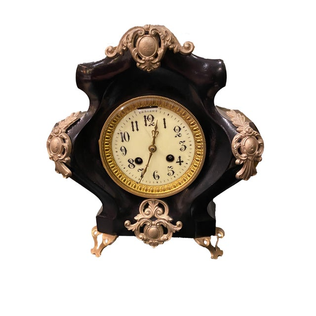 19th Century French Black Gilded Clock For Sale - Image 9 of 9