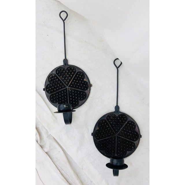 Pair Antique Dutch Cast Iron Sconces For Sale In Raleigh - Image 6 of 13