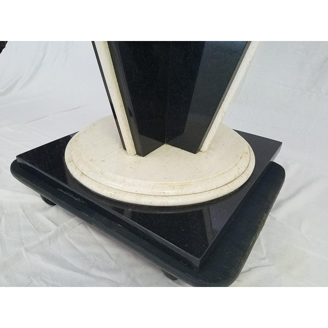 Glass Top Table with Granite & Marble Base - Image 6 of 8