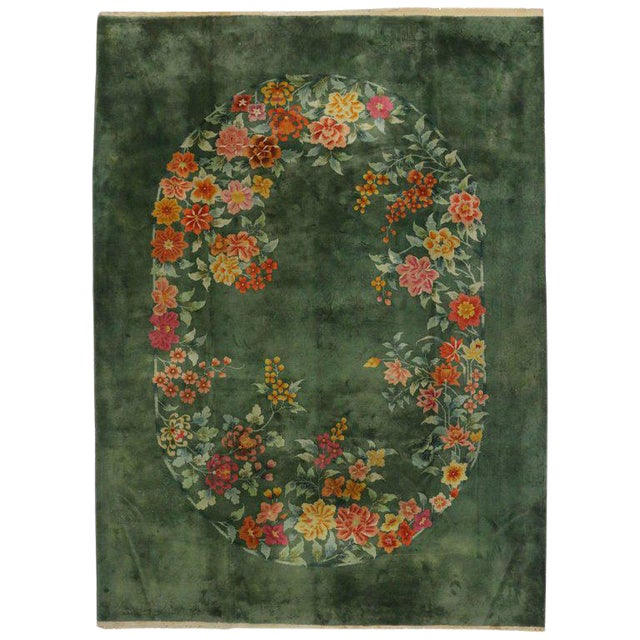 Early 20th Century Antique Chinese Art Deco Rug, Green Chinese Art Deco Rug For Sale