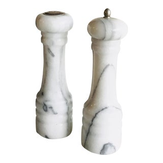 Solid White Carrera Marble Salt Shaker and Pepper Grinder - a Pair For Sale