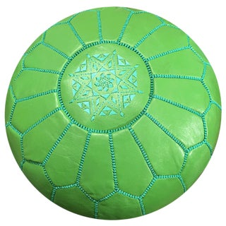 Moroccan Green Leather Pouf For Sale