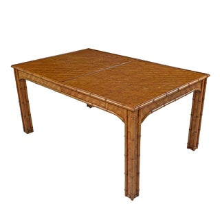 Hollywood Regency Parsons Style Rattan Basket Weave Parquet Dining Table For Sale