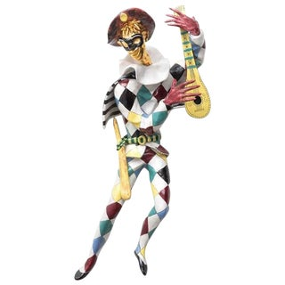 Ceramic Harlequin Minstrel Wall Art by Otello Rosa for San Polo Venezia For Sale