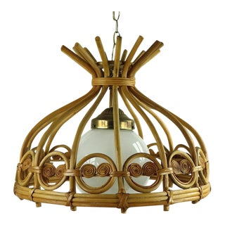 1970s Boho Chic Bamboo Swag Light Chandelier For Sale