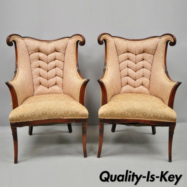 Pair of Vintage Hollywood Regency French Style Mahogany Armchairs After Dorothy Drapes. Item features solid wood...
