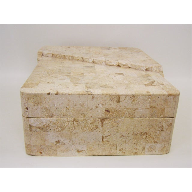 Maitland-Smith Vintage Travertine Marble Box For Sale - Image 5 of 11