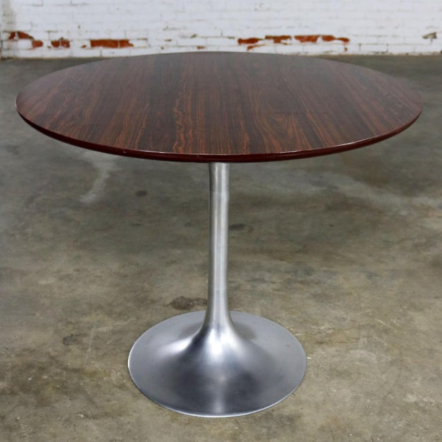 Saarinen Style Tulip Base Table in Aluminum with Woodgrain Laminate Top For Sale - Image 11 of 11