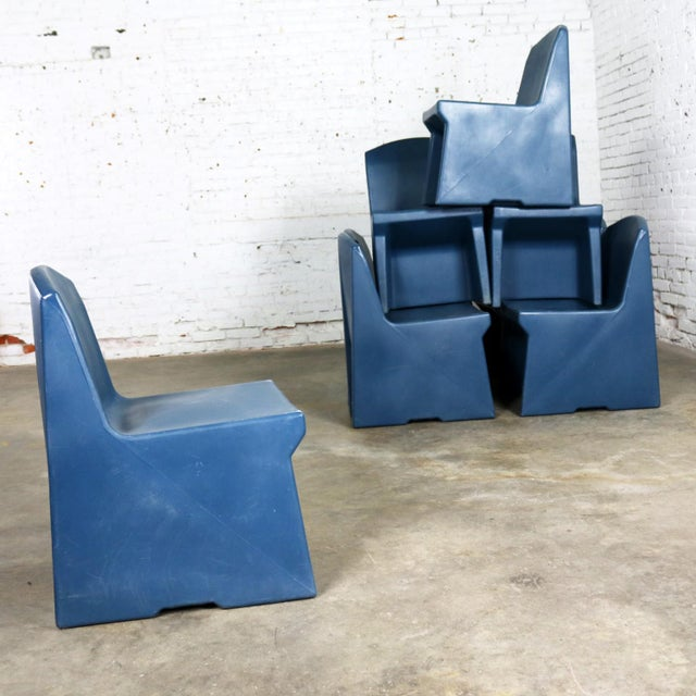 Blue Molded Plastic Side or Slipper Chairs by Norix Set of Eight For Sale - Image 9 of 13