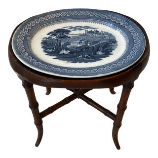 Antique English John Ridgeway Cauldon Byzantium Blue Transferware Platter With Handcrafted Display Stand/Side Table For Sale