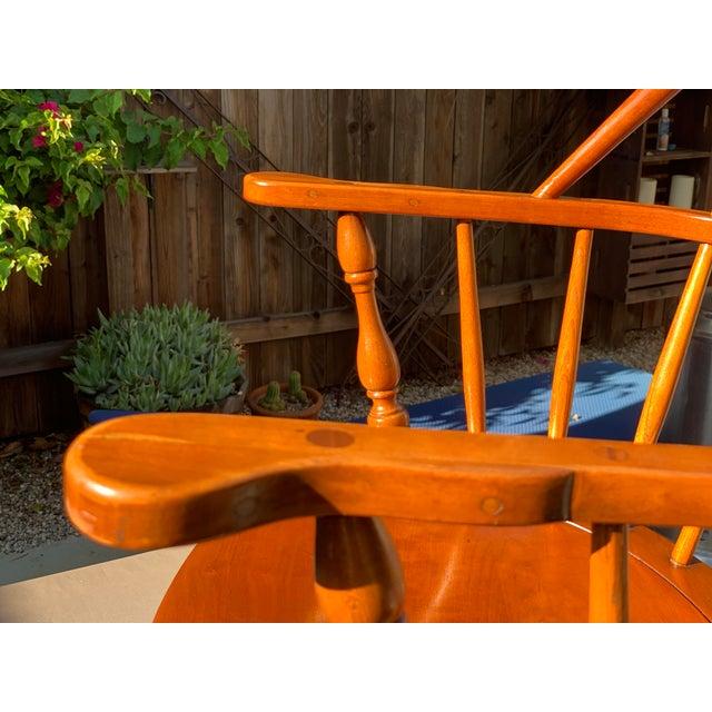 Brown 1950s Vintage Original Leopold Stickley Rockport Windsor Armchair For Sale - Image 8 of 13
