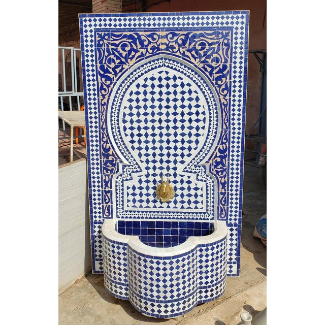 Metal Moroccan Mosaic Blue Fountain For Sale - Image 7 of 8