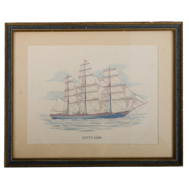 Vintage Sailing Ship Framed Print Collection - Set of 7 For Sale In Savannah - Image 6 of 6