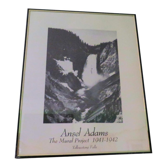 """Vintage Ansel Adams """"Yellow Stone Falls"""" Poster For Sale"""