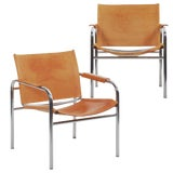 """Image of Circa 1970s Vintage Chrome and Leather """"Klint"""" Arm Chairs by Tord Bjorklund - a Pair For Sale"""