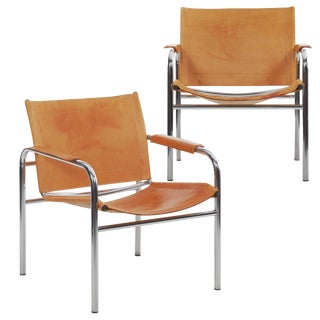 "Circa 1970s Vintage Chrome and Leather ""Klint"" Arm Chairs by Tord Bjorklund - a Pair For Sale"