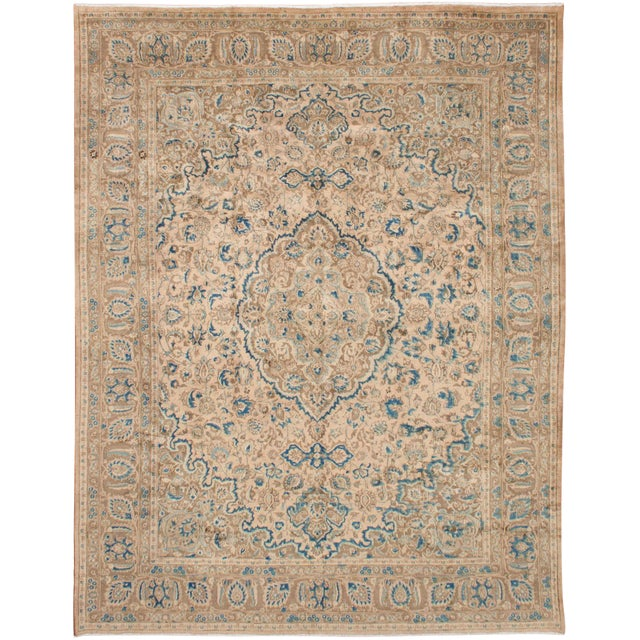 Persian Cream & Blue Rug - 9′8″ × 12′6″ For Sale